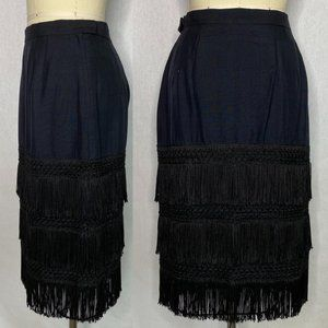 Vintage 90s Silk Fringe Pencil Skirt Size S Small